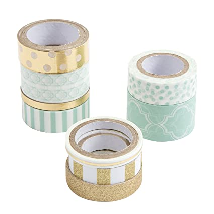 Mint Green Lines Washi Tape 15mm X 10m Collage Supplies