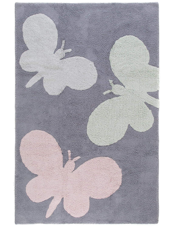 Benuta Kinderteppich Bambini Butterflies Durchmesser 150 150 150 cm Rund, Baumwolle, Rosa, 150 x 150 x 2 cm 9076ca