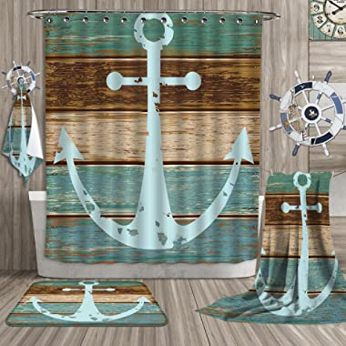 SeptSonne Nautical Anchor Rustic Wood - Bathroom Suits/16Piece Bathroom Set/Bathroom Accessory Set - Water, Soap, and Mildew resistant - Machine Washable - Shower Hooks are Included/12Pcs