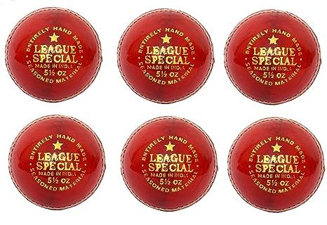 CW Pack de 6 Liga especial rojo pelota de Cricket (piel cosida a ...
