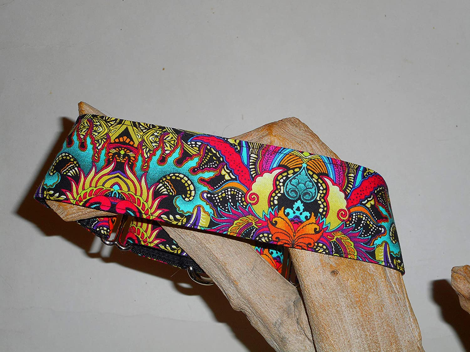 Martingale Dog Collar Dragon Flame Custom Made 2 Inches Wide