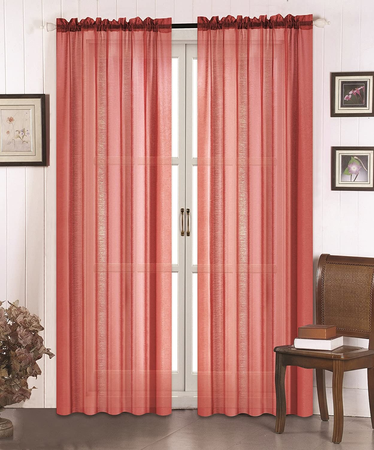 All American Collection New 2pc High Quality Doli Sheer Curtain Brick Red