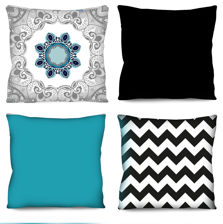 Conjunto de almofadas Mandala azul e cinza 4 Peças 42x42