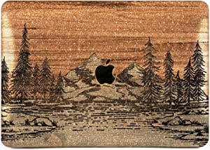 "Cavka Hard Glitter Case for Apple MacBook Pro 13"" 2019 Retina 15"" Mac Air 11"" Mac 12"" Bling Wood Trees Shiny Rose Gold Forest Sparkly Silver Mountain Cover Glossy Design Nature Print Brown Texture"