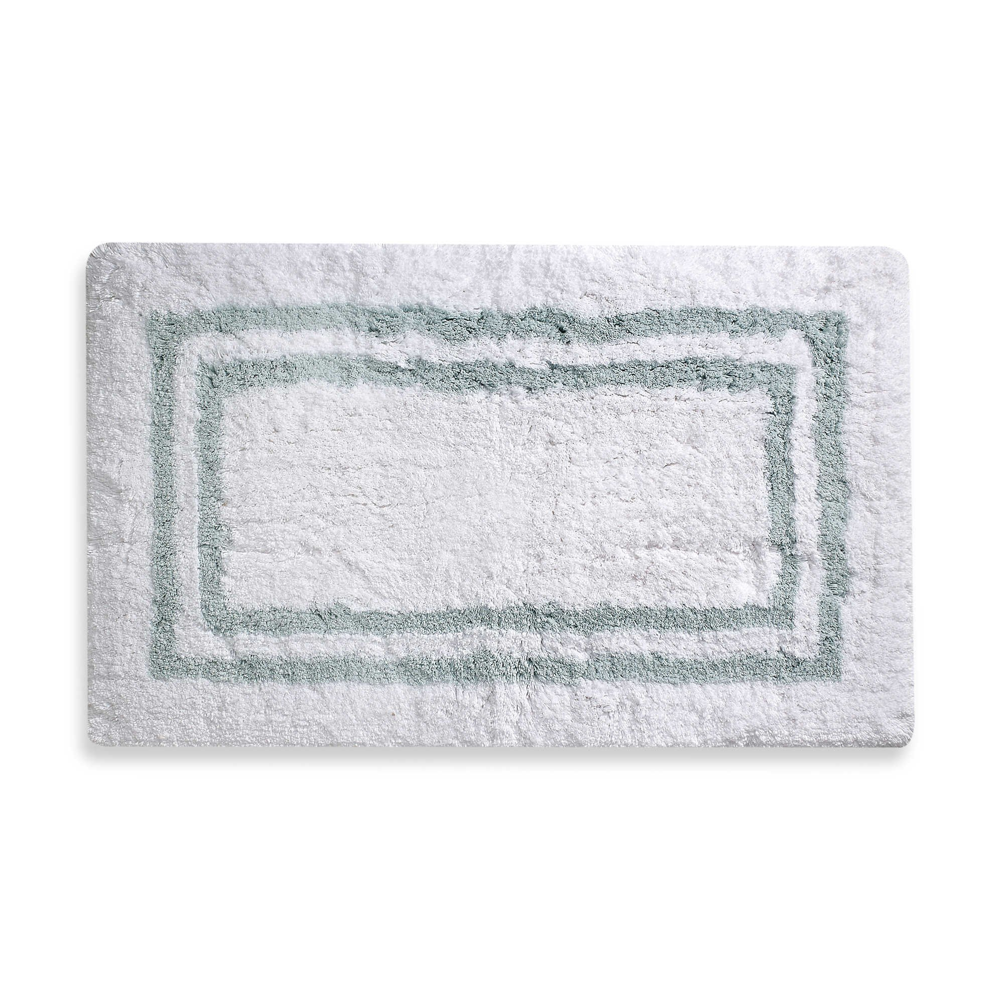 Wamsutta 21-Inch x 34-Inch Hotel Spa Rug in White/Aqua