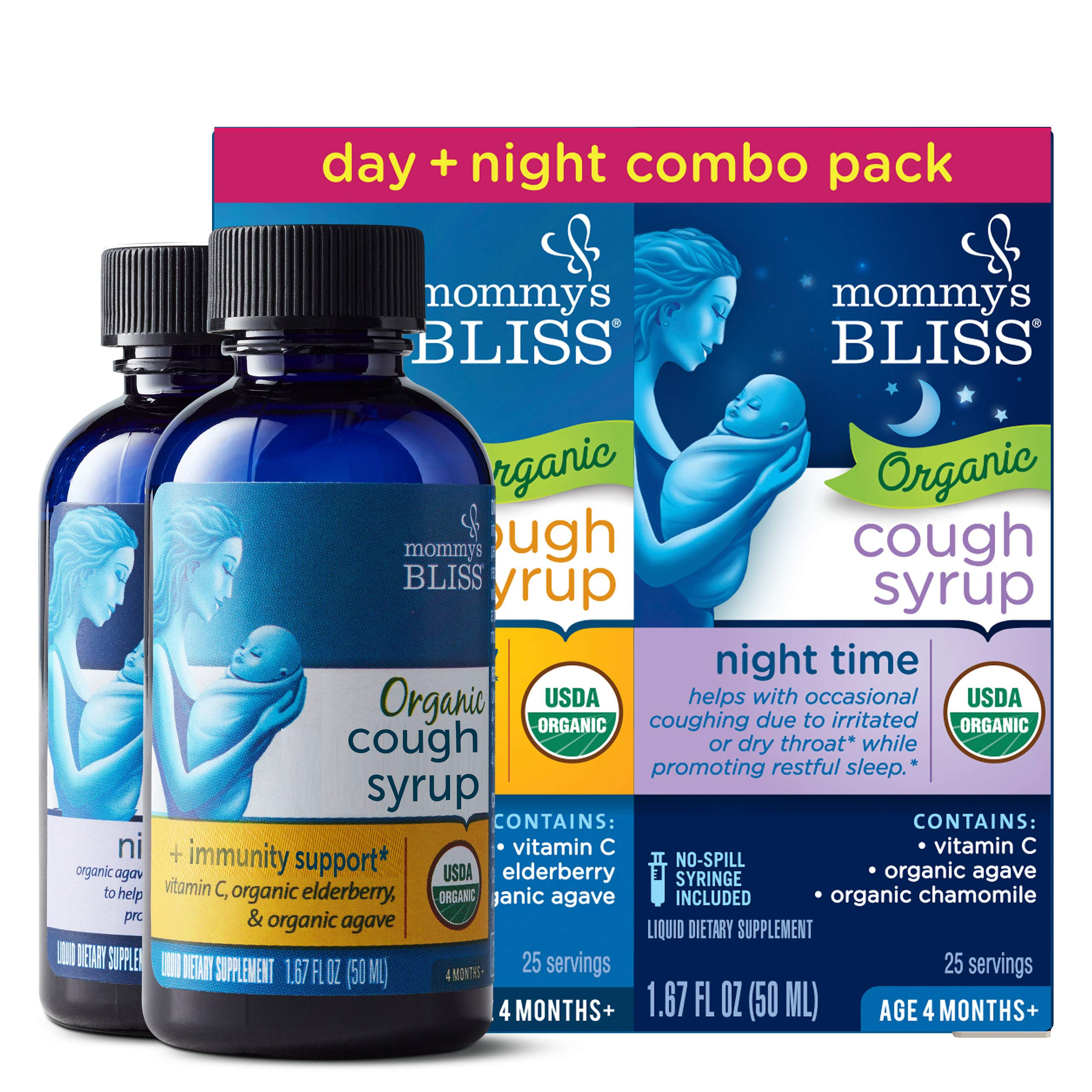Mommy's Bliss Baby Organic Cough Syrup + Immune Support Day & Night Combo Pack 4 Months+ 3.34 Fluid Ounce by Mommy's Bliss