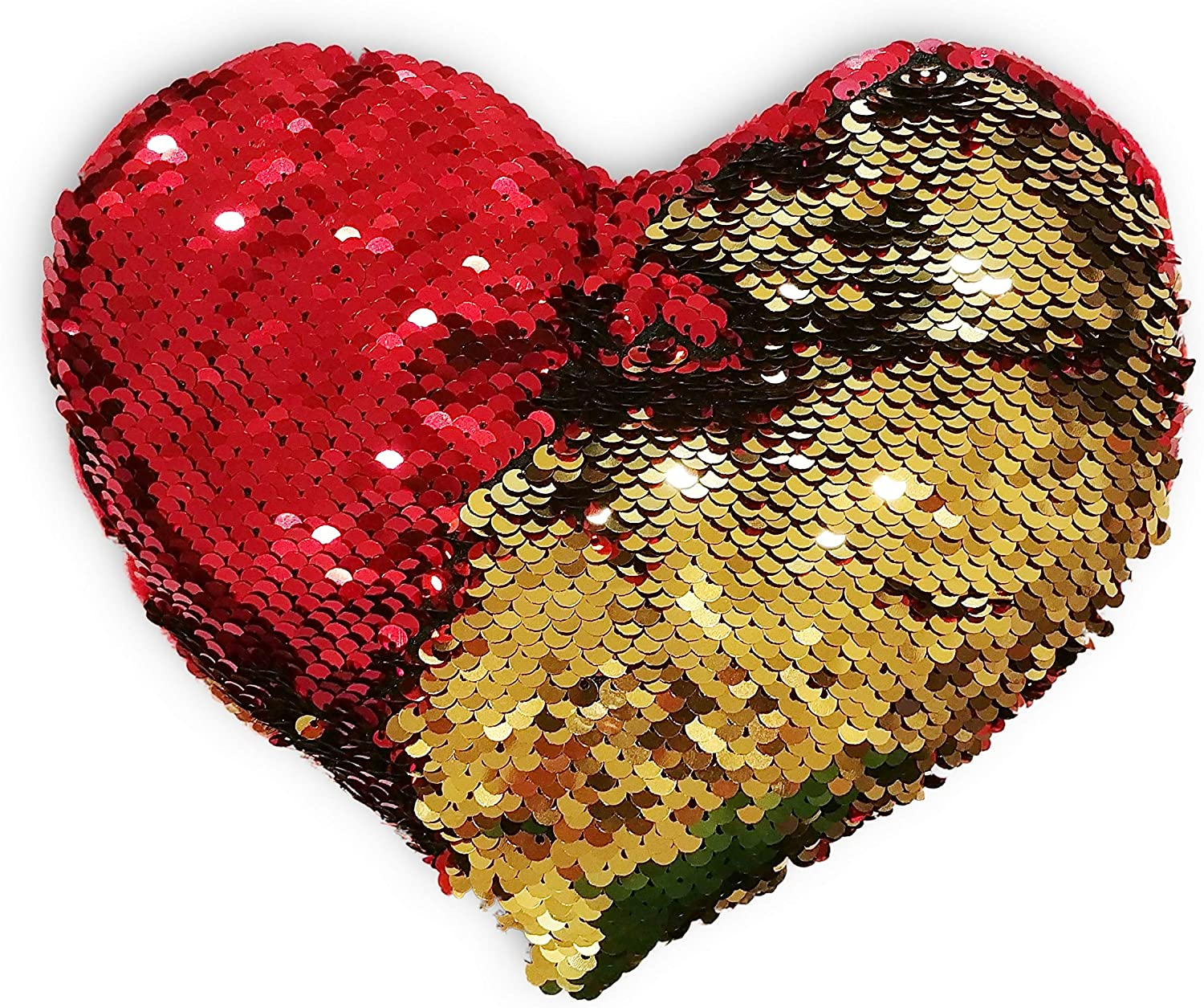 Amazon Com Set Of 2 Red Gold Heart Shaped Plush Sequin
