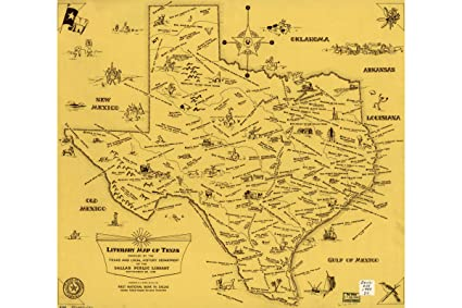 A Literary Map Of Texas By Dallas Public Library Antique Map 1955