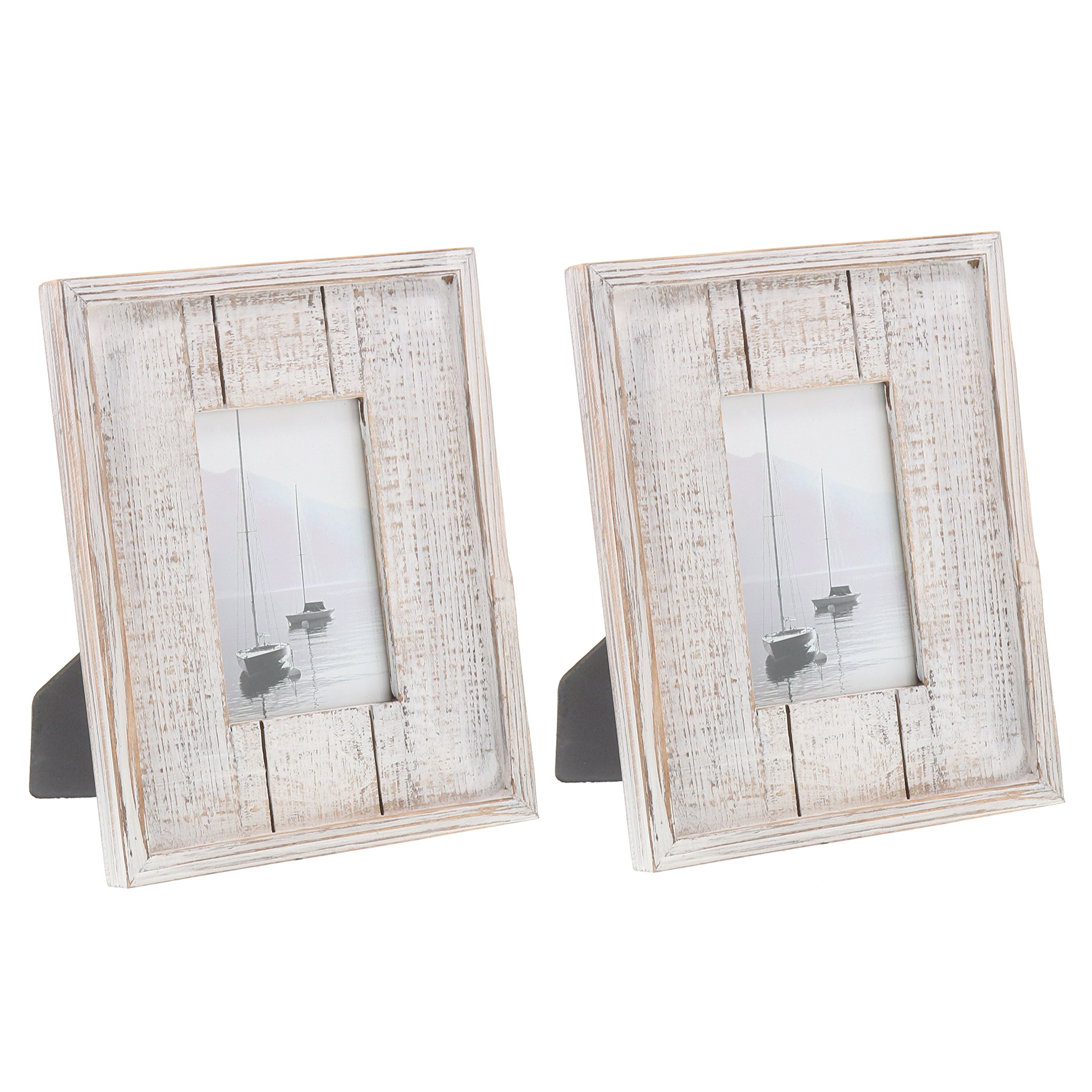 Barnyard Designs Rustic Distressed Picture Frame 4'' x 6'' Wood Photo Frame in White (2-Pack)