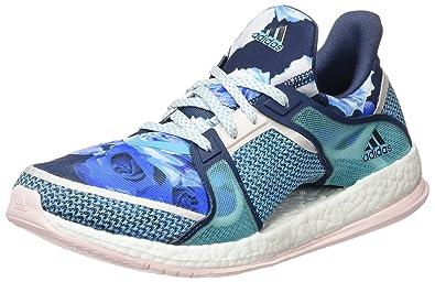 adidas Pure Boost X TR W, Chaussures de Running Entrainement Femme, Noir/Gris/Rouge (Noir Essentiel/Gris Foncé/Rayon de Soleil), 38 2/3 EU