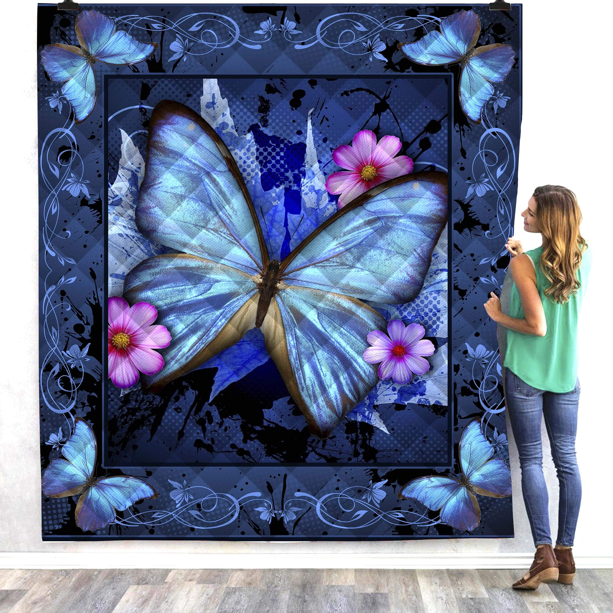 YunTu 3D Printed Butterfly King Quilt Queen Quilts for Kids Quilted Placemats Navy Quilted Throw Blanket Outdoor Picnic Camping Mat (Butterfly A,King)