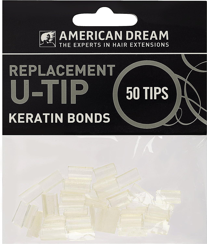 American Dream extensiones de queratina puntas de repuesto para pre-bonded, claro–Pack de 50