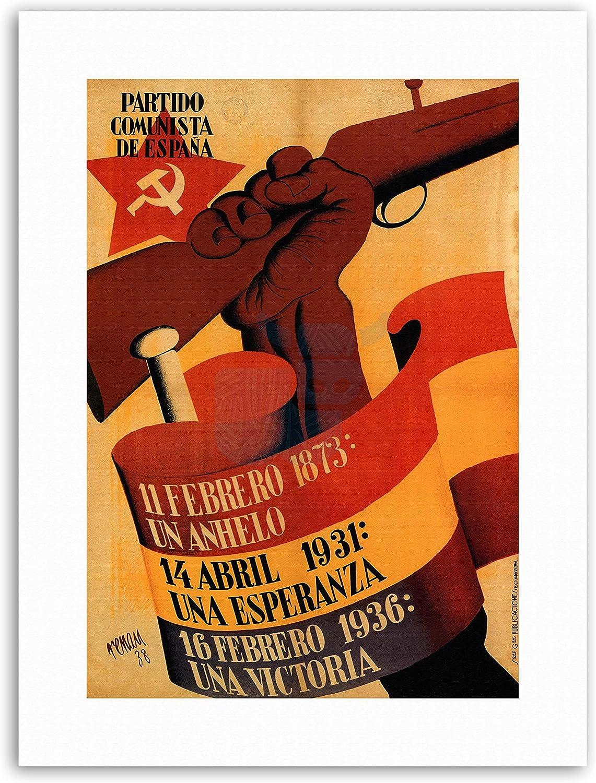 Partido Comunista de España español Póster de pistola de Guerra Civil político militar Lienzo Art Prints: Amazon.es: Hogar