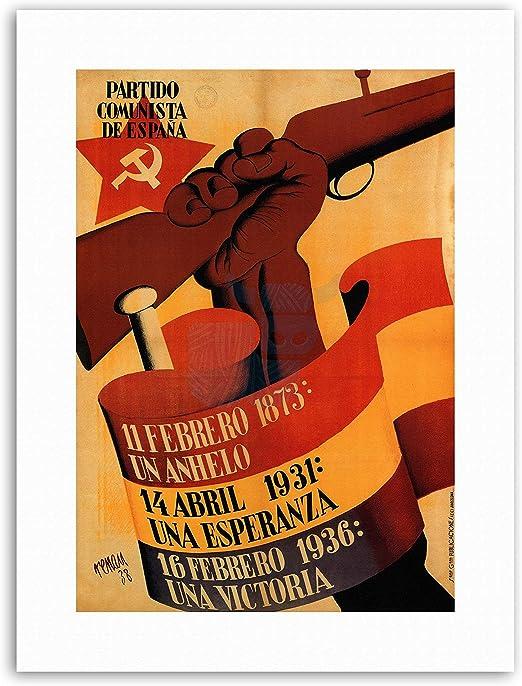 Partido Comunista de España español Póster de pistola de Guerra ...