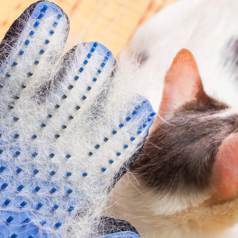 Blu 1 Paio per Cani e Gatti Relaxdays Guanti Rimuovi Peli Setole in Gomma Effetto Spazzola Rimozione e Massaggio