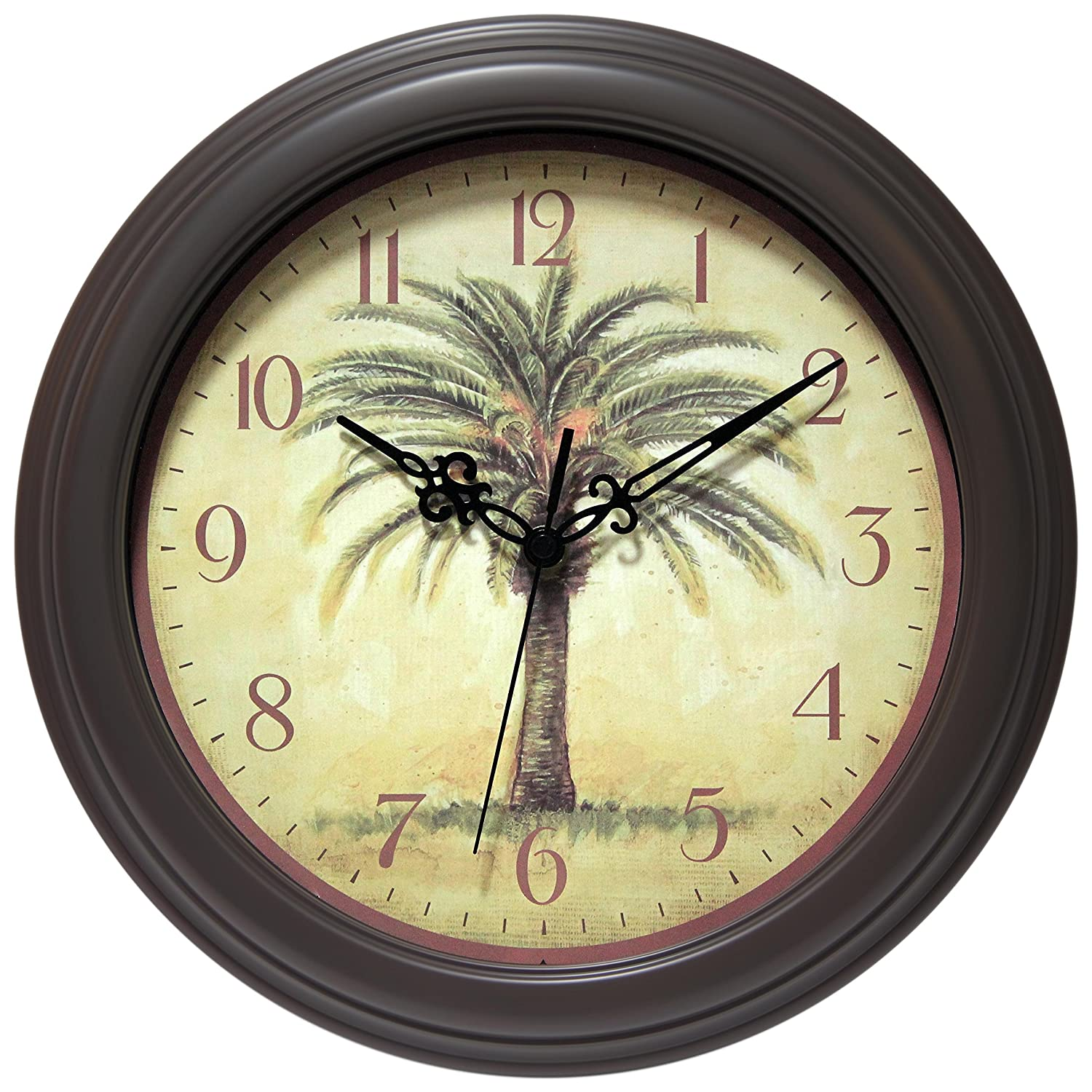Amazon infinity instruments cabana 12 silent sweep resin amazon infinity instruments cabana 12 silent sweep resin palm tree wall clock home kitchen amipublicfo Image collections
