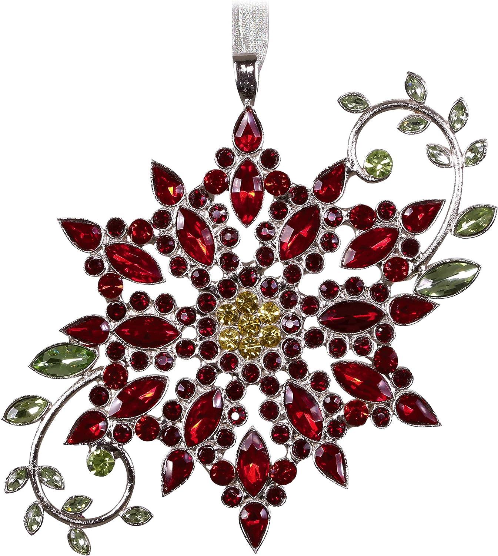 Hallmark Keepsake Christmas 2019 Year Dated Sparkling Poinsettia Ornament, Gemstone and Metal