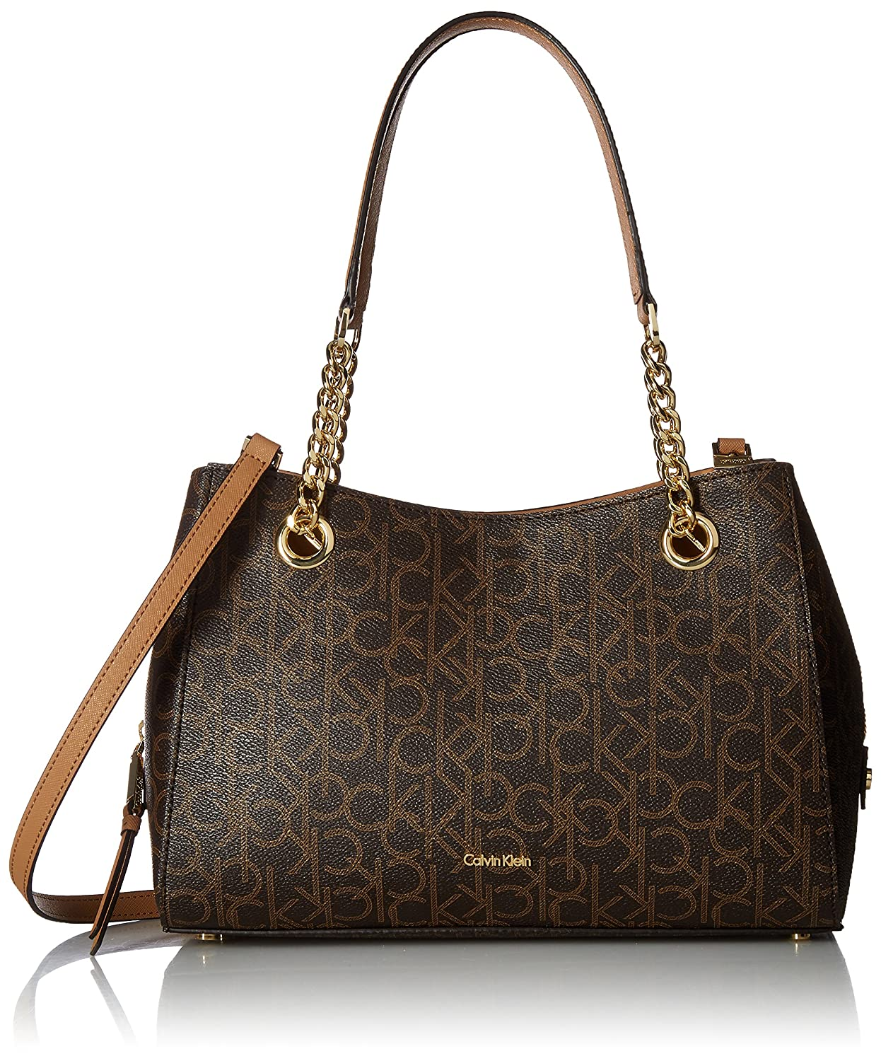 e6a05545dc Calvin Klein Women's Brown/Khaki Marie Monogram Signature Satchel:  Amazon.in: Clothing & Accessories