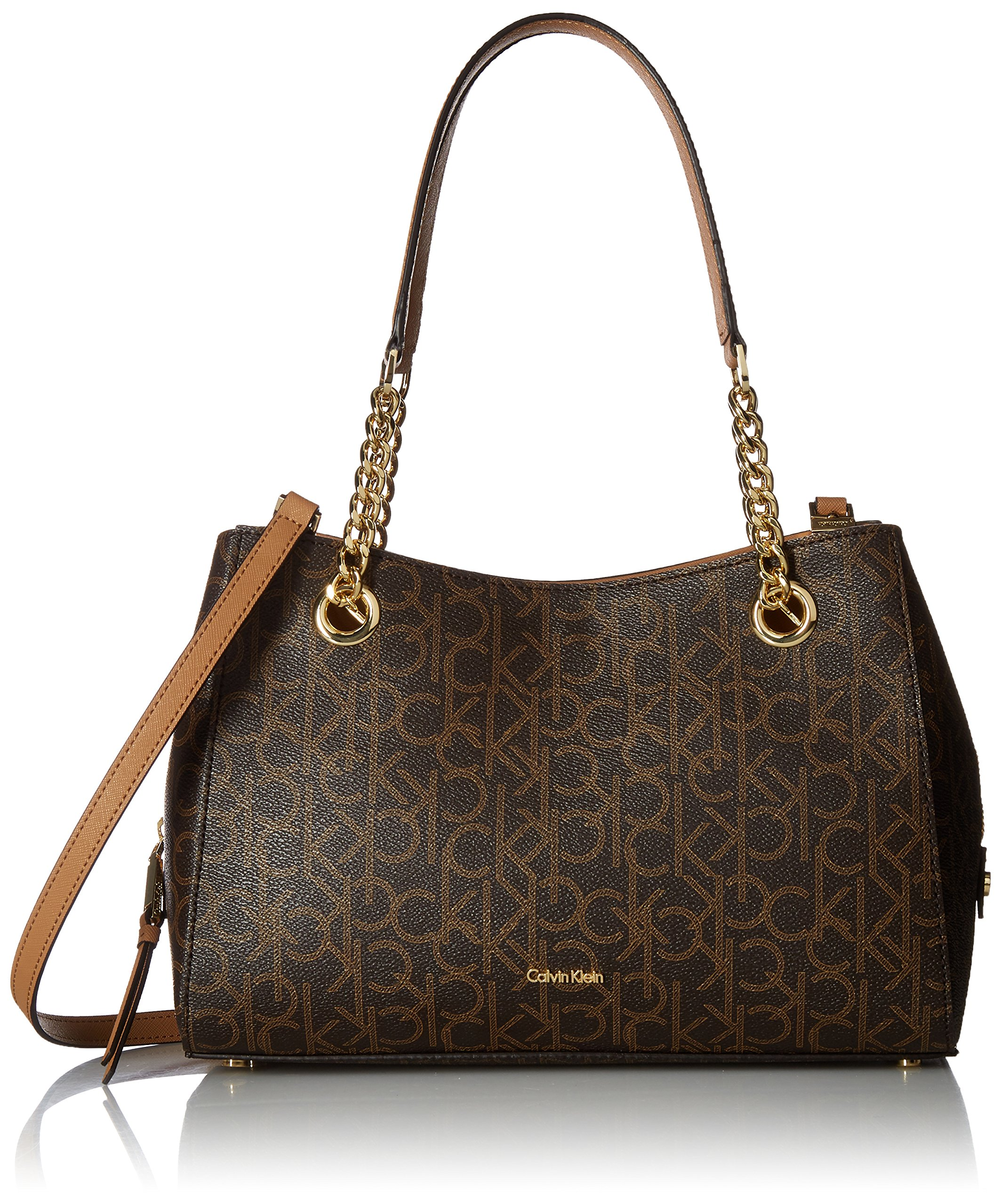 Calvin Klein Marie Monogram Signature Satchel, Brown/Khaki by Calvin Klein