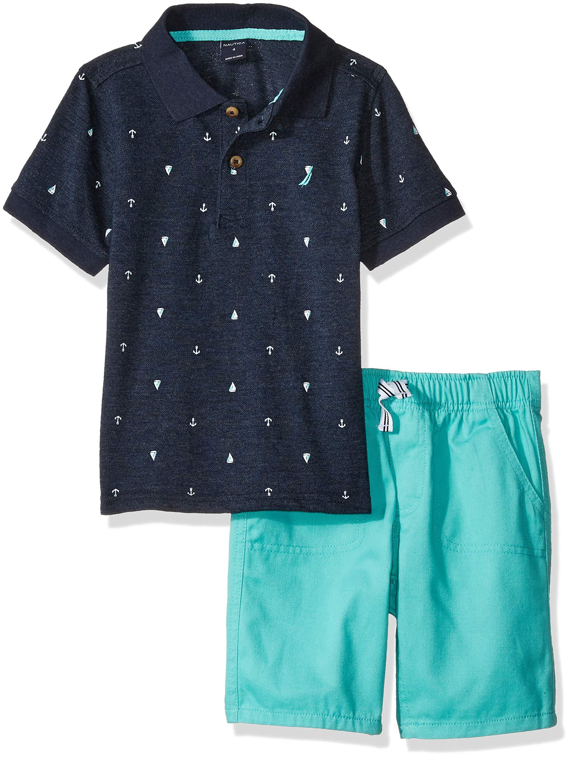 Nautica Sets (KHQ) Boys' Little 2 Pieces Polo Shorts Set, Blue/Green, 6