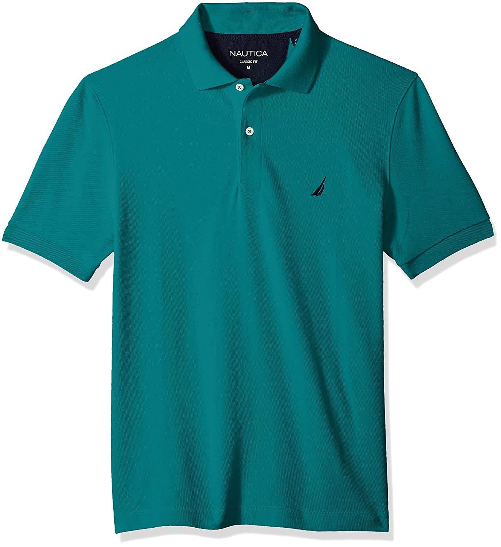 Nautica Mens Short Sleeve Solid Cotton Pique Polo Shirt