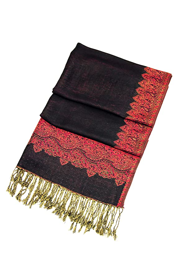 031d06f0c Sakkas Border Pattern Layered Reversible Woven Pashmina Shawl Scarf Wrap  Stole - Black Red at Amazon Women's Clothing store: