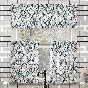 "No. 918 Barker Geometric Semi-Sheer Rod Pocket Kitchen Curtain Valance and Tiers Set, 54"" x 24"" 3-Piece, White"