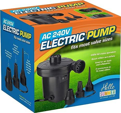 Fast Electric Mains Plug Air Pump Inflator Airbed Bed Paddling Swimming Pool UK