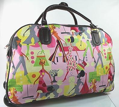 London Fashion Women Printed Wheeled Trolley Travel Bag with Wheels Overnight  Bag Cabin Bag bcafae43b1
