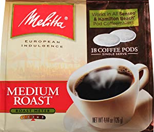 Melitta Medium Roast Coffee Pods for Senseo & Hamilton Beach Pod Brewers, 18 Count (Pack of 6)
