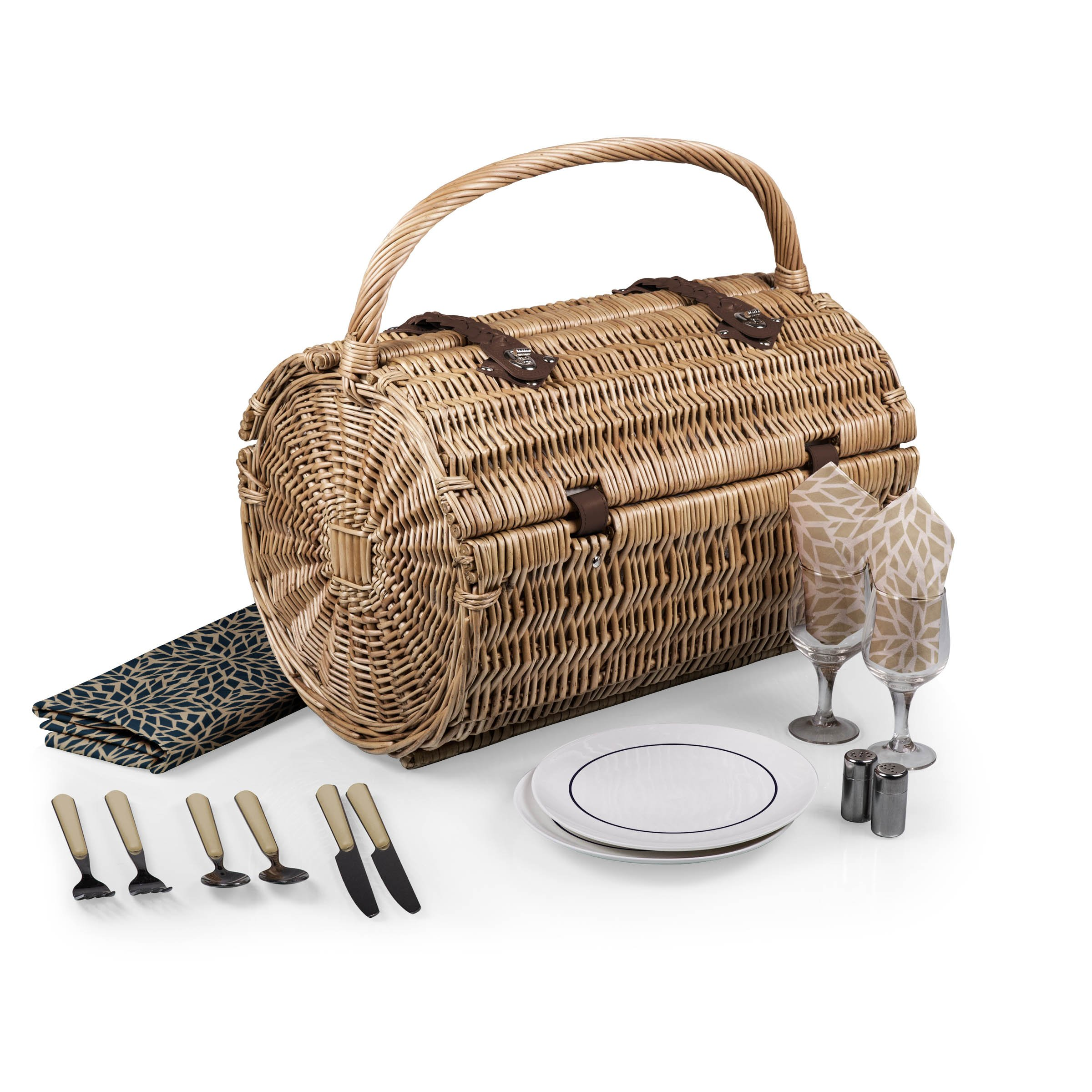 Picnic Time Dahlia Collection Barrel Picnic Basket with Service for Two, Brown by PICNIC TIME