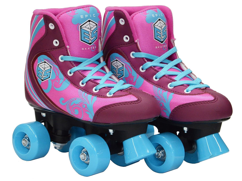 Epic Cotton Candy Quad Roller Skates w//2 Pr Laces New Pink /& Blue