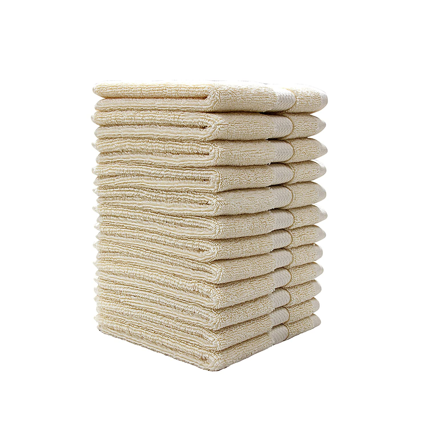"Bumble Luxury Plush Wash Cloth Set - 13"" x 13"" Premium 12 Pack Wash Cloth Set - Ultra Soft, Highly Absorbent 800 GSM Heavy Weight Combed Cotton - White Bumble Towels"