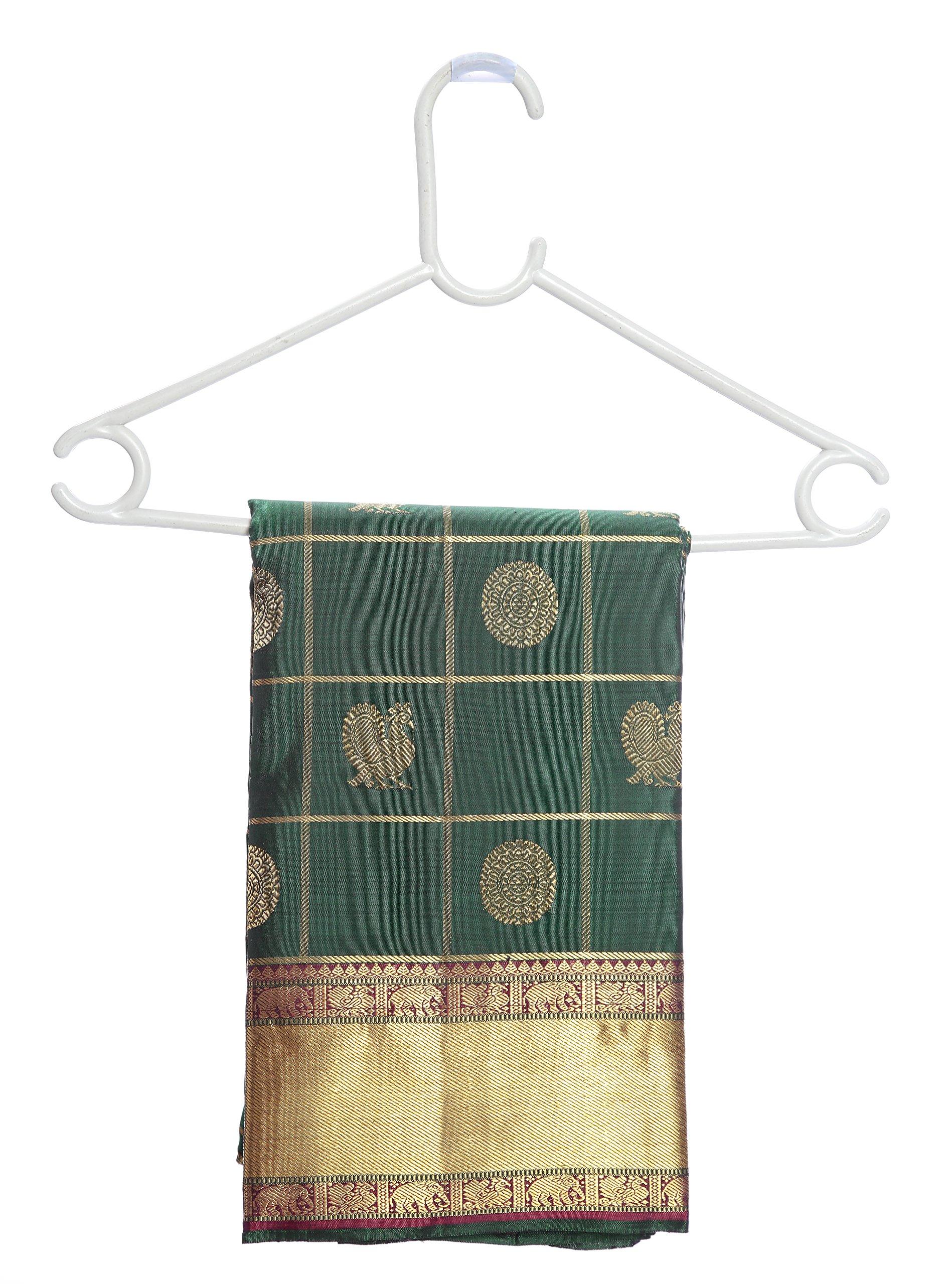 Mandakini — Indian Women's Kanchipuram - Handloom - Pure Zari & Pure Silk Saree (Dark green ) (MK210) by Mandakini (Image #6)