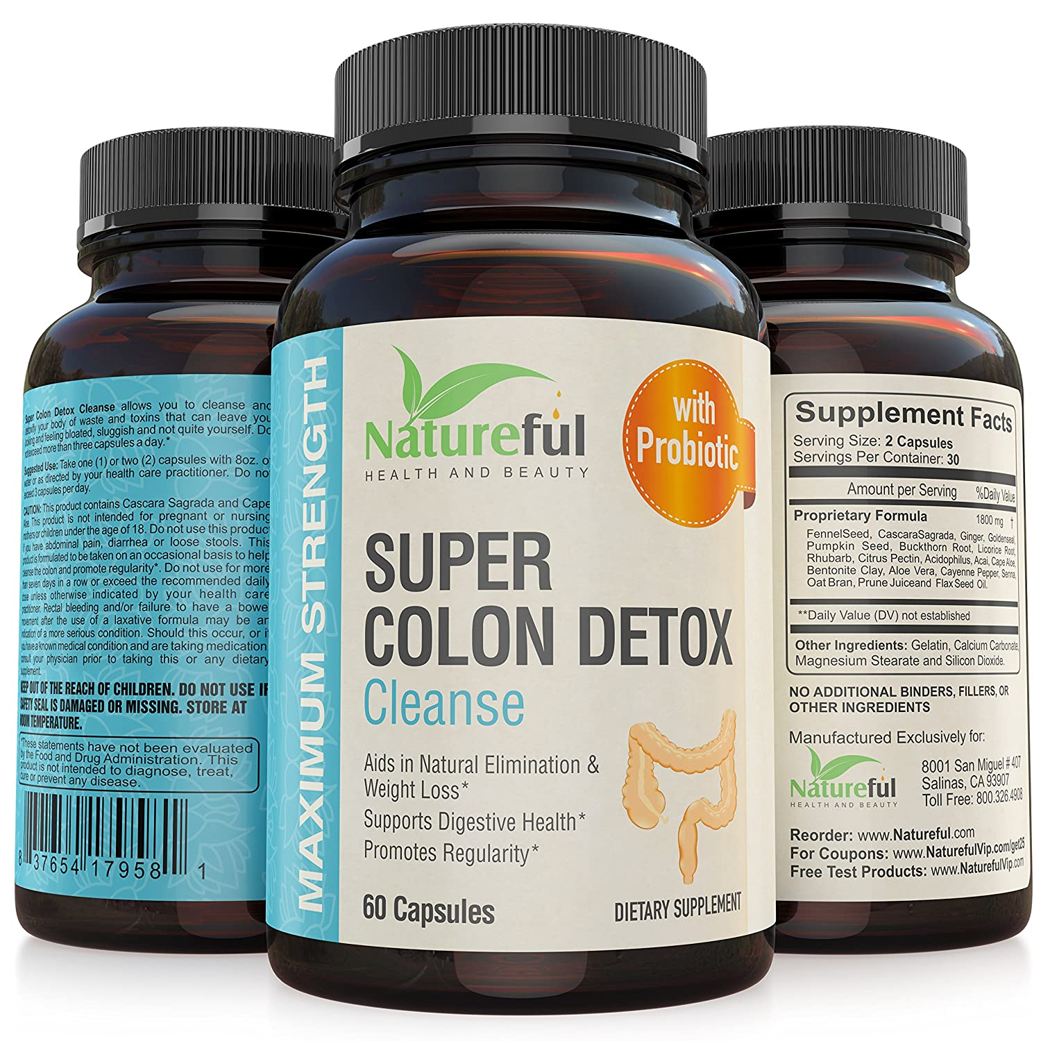 Amazon.com: Best Colon Cleanse for-Weight-Loss: Belly fat Burner for Women  with Probiotics! ☆ Flatten Stomach or Your Money Back ☆ The Original  Natural ...