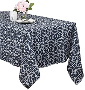 Benson Mills Geo Indoor/Outdoor Spillproof Tablecloth (Blue, 60-inch by 120-inch)