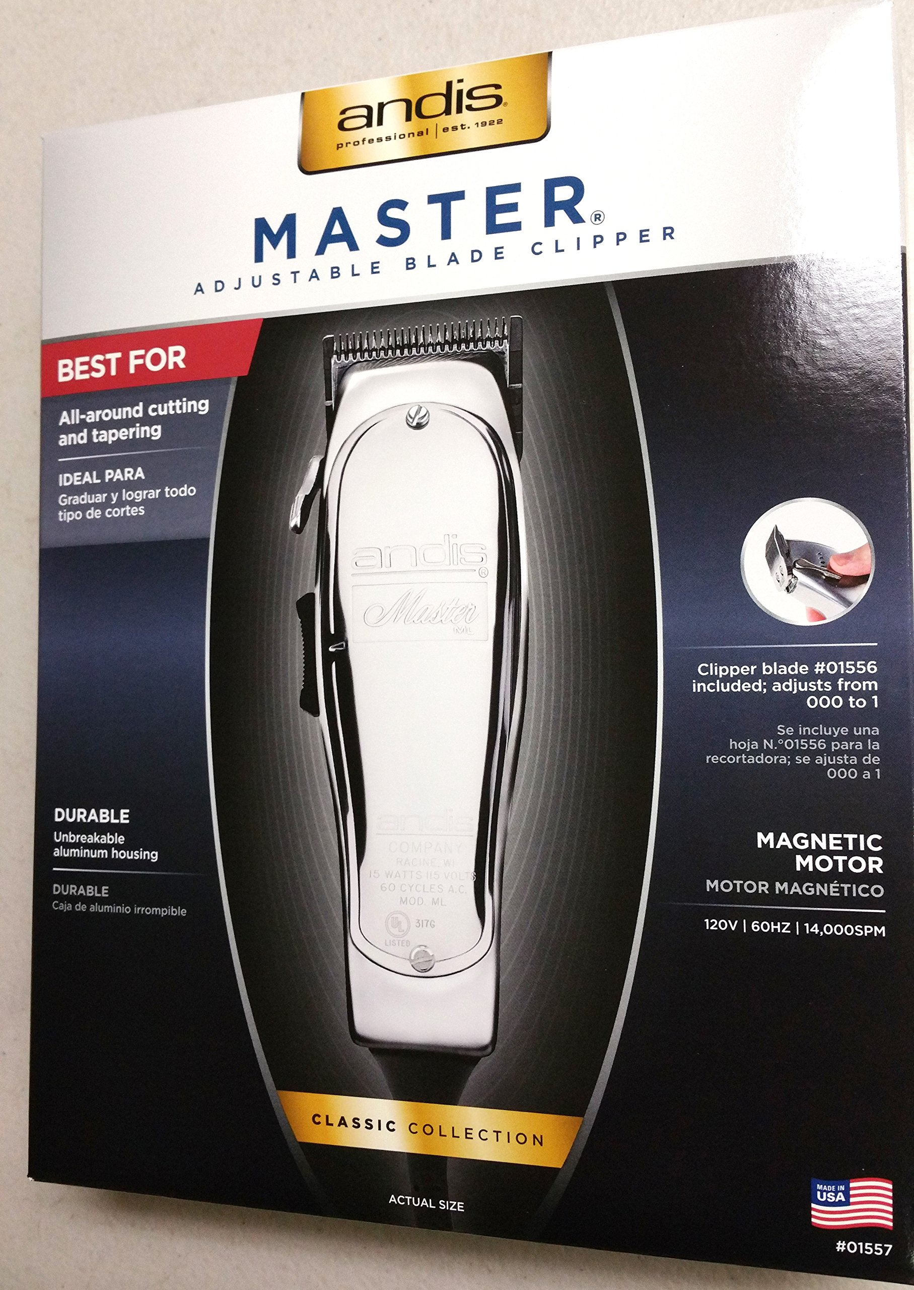 Andis Lightweight Professional Clippers, with Unbreakable Aluminum Housing, Motor Generates 14,000 Cutting Strokes Per Minute with Quiet and Cool Operation, Convenient One Handed Operation, Perfect for Cutting and Tapering