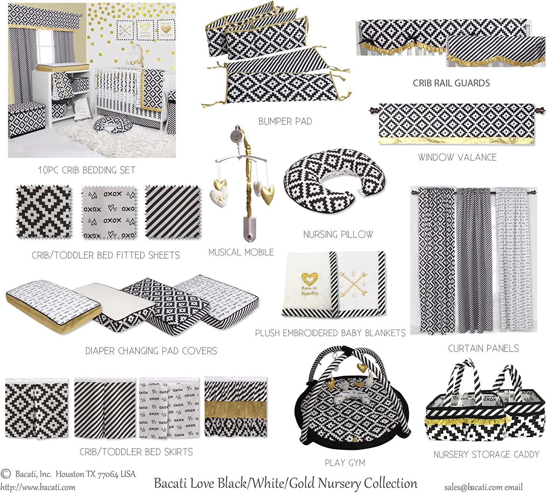 Black//Gold Bacati Love Unisex Crib Bedding Set