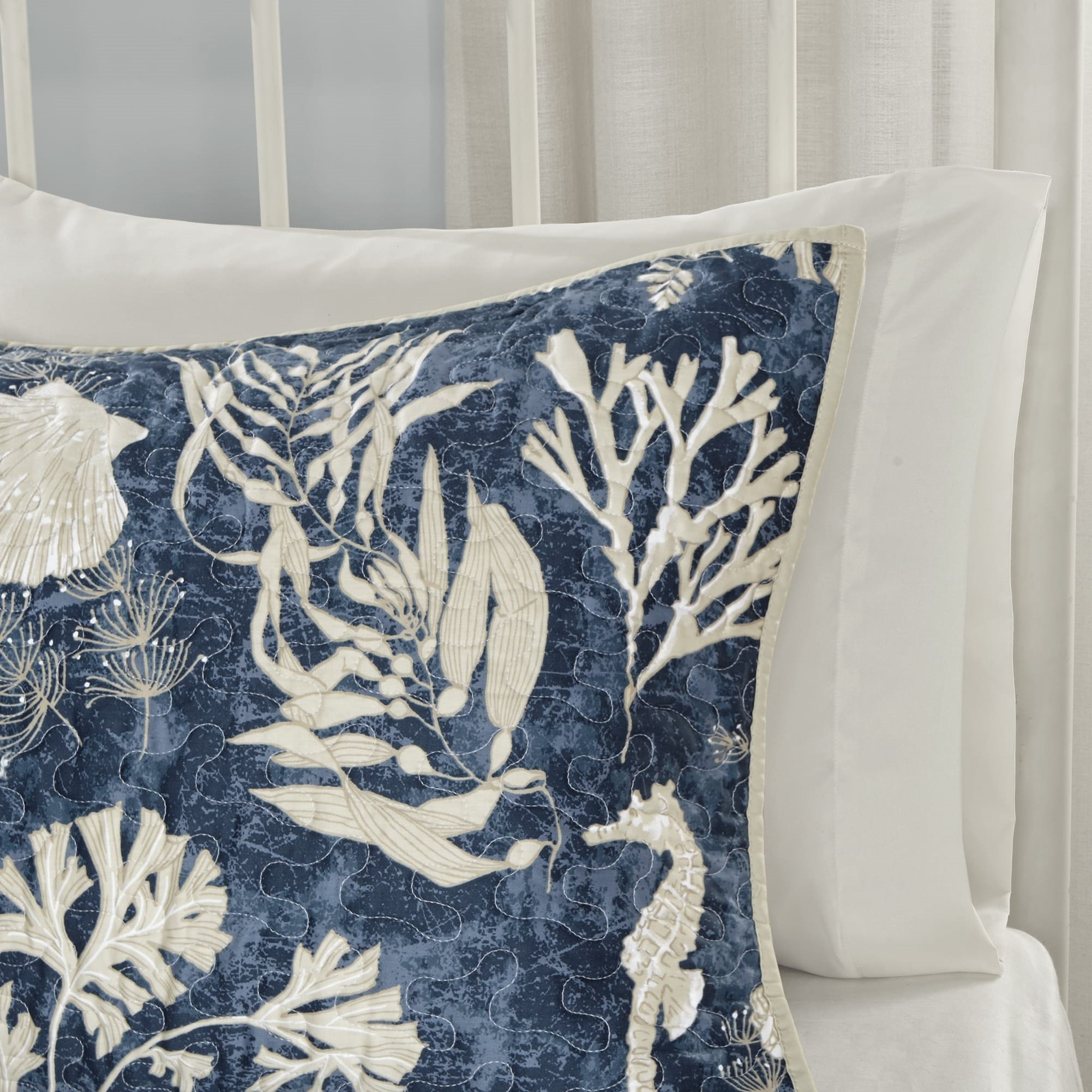6 Piece Underwater Sea Creatures Theme Coverlet Set Full/Queen Size, Printed Coastal Coral Reefs Seahorse Sea Shells Starfish Bedding, Whimsical Rich Nautical Design, Fun Animals Pattern, Navy, Ivory by Shopping Experts (Image #6)