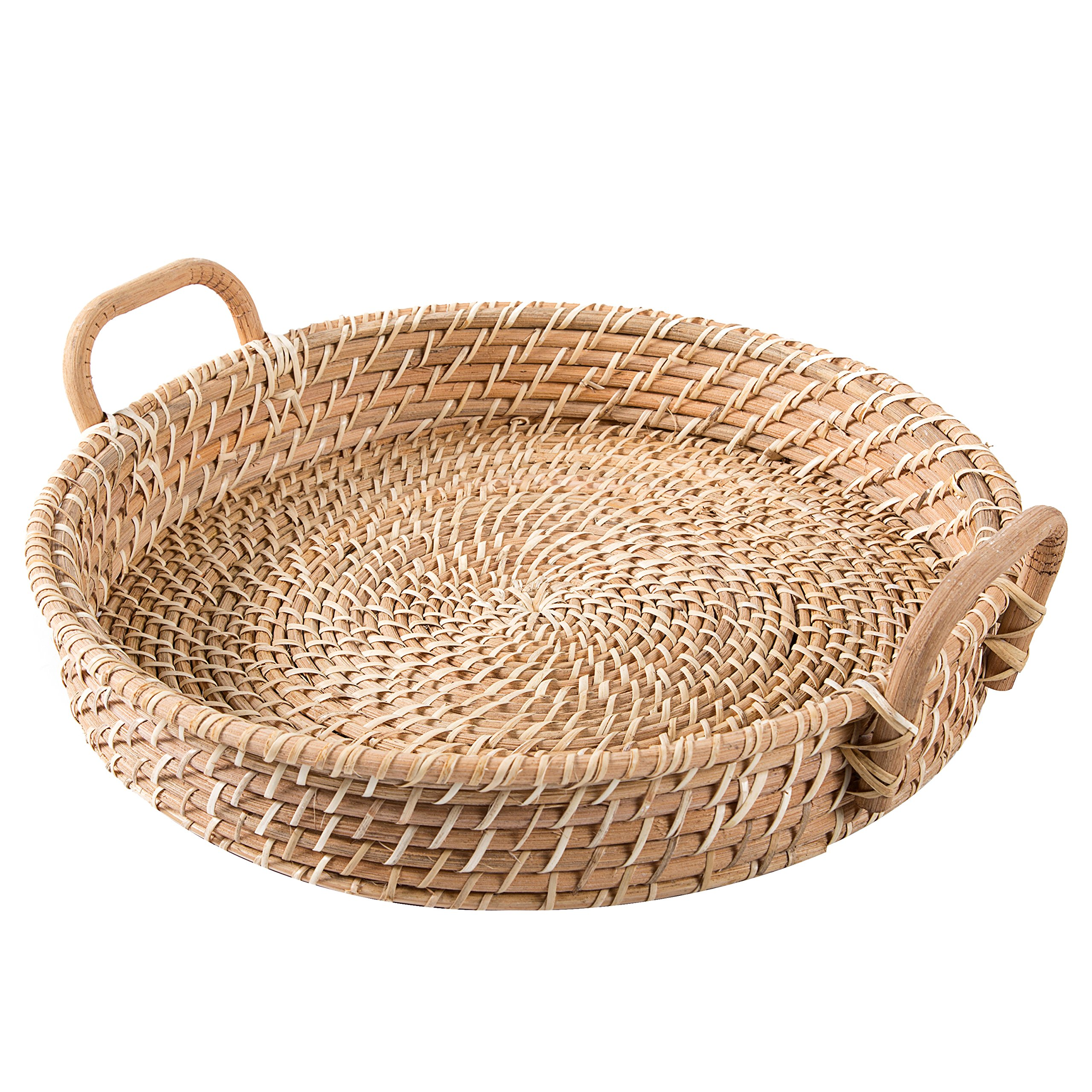 18 Inch Round Hand Woven Rattan Kitchen Fruit Produce Bread Basket Serving Tray with Wood Handles
