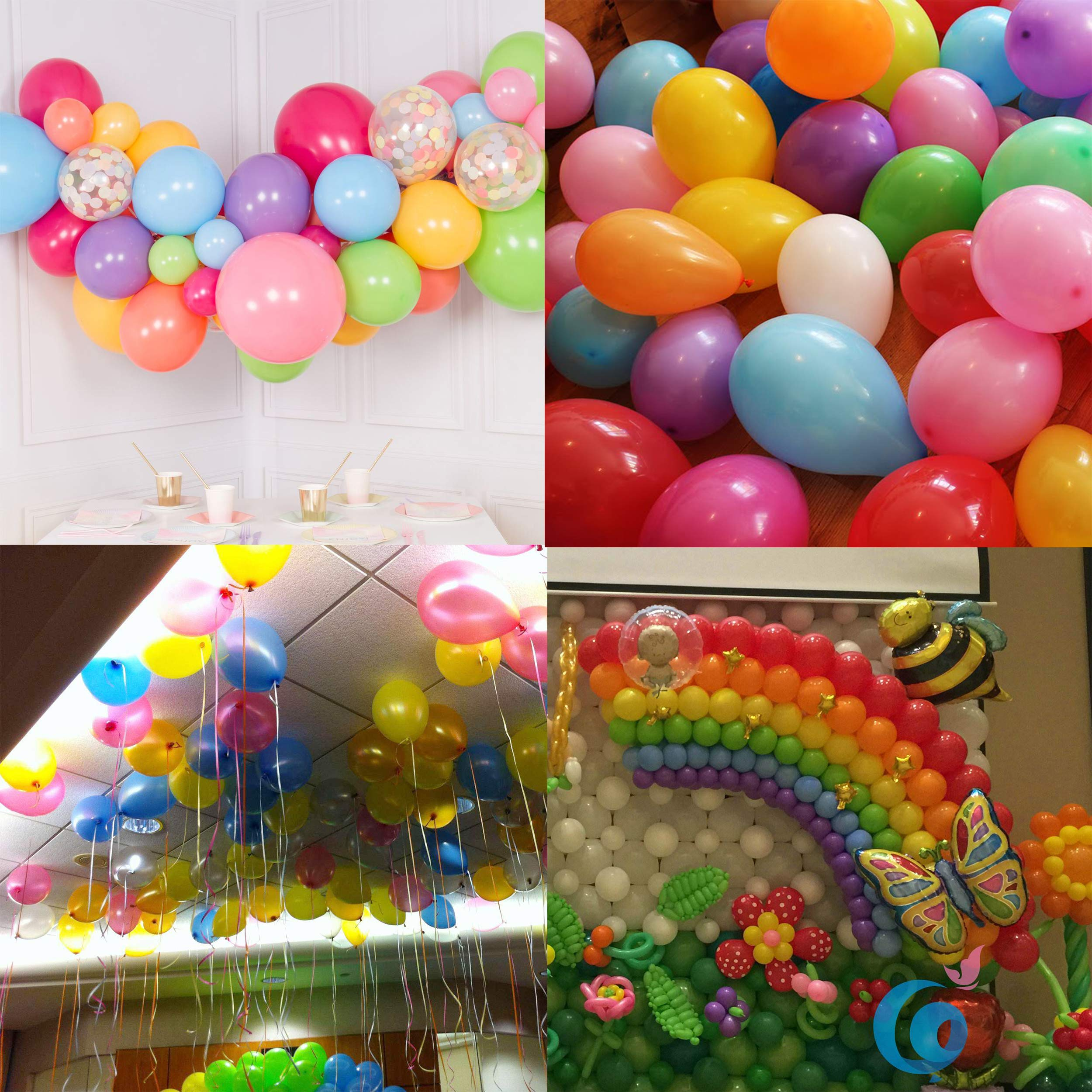 ChristmasEXP 180 Pcs Assorted Colors Rainbow Balloons, 12 inch Party Balloons, High Quality Latex Balloons for Helium or Air Use