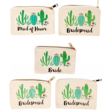 32beca8f6b Bridal Shower Makeup Bag - 5-Pack Canvas Cosmetic Pouches for Wedding  Favors, Bachelorette Party...