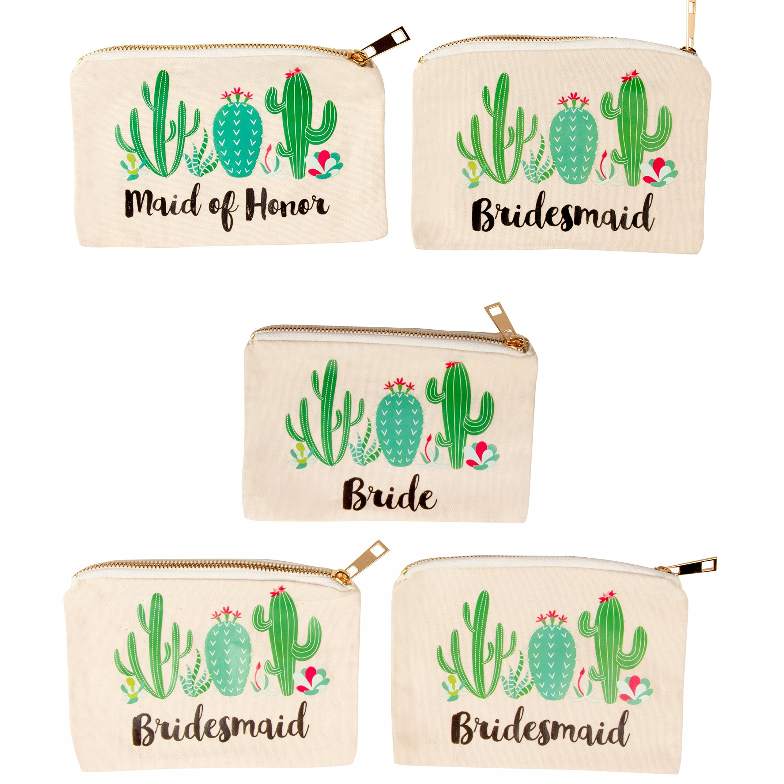 Bridal Shower Makeup Bag - 5-Pack Canvas Cosmetic Pouches for Wedding Favors, Bachelorette Party Gifts, Bride Tribe Accessories, Cactus Design, 7.2 x 4.7 Inches