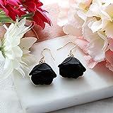 Rose Flower Tassel Earrings Fabric Dangle Drop