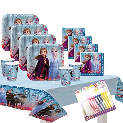 Frozen 2 Party Supplies Pack Serves 16: Dinner Plates Luncheon Napkins Cups and Table Cover with Birthday Candles (Bundle for 16): Toys & Games