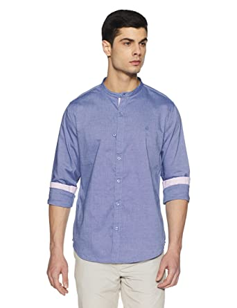United Colors of Benetton Men s Solid Slim Fit Cotton Casual Shirt  Amazon. in  Clothing   Accessories 3cce5ec0c45e