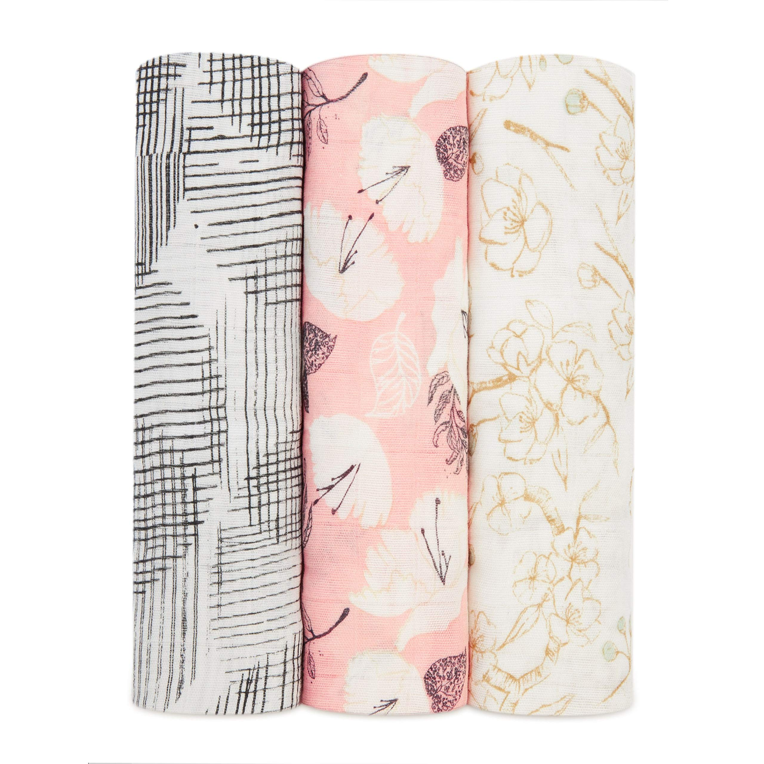 aden + anais Silky Soft 3 Piece Swaddle Baby Blanket, Pretty Petals