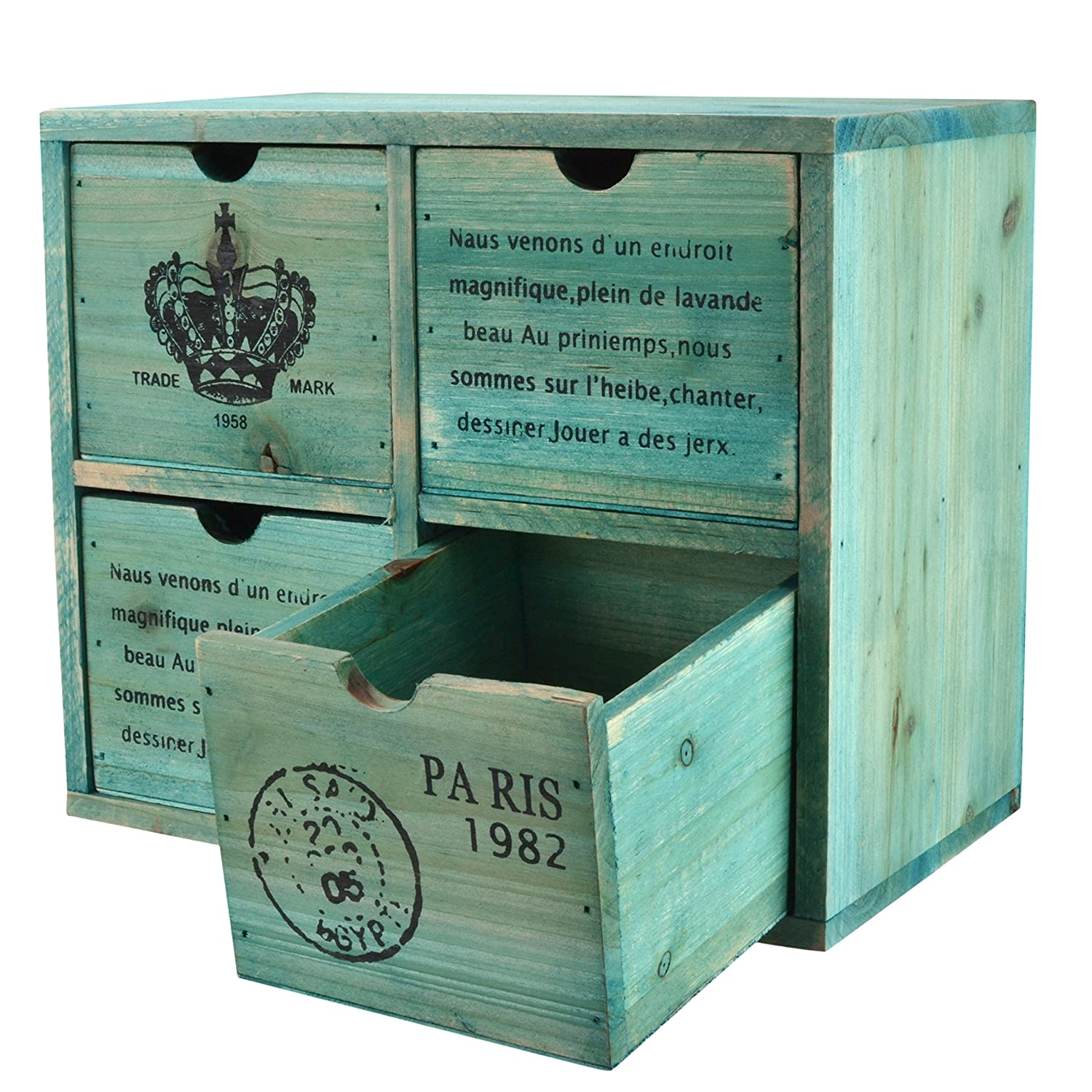 MyGift French Country Design Rustic Turquoise 4 Drawer Wooden Storage Cabinet/Jewelry Organizer Chest