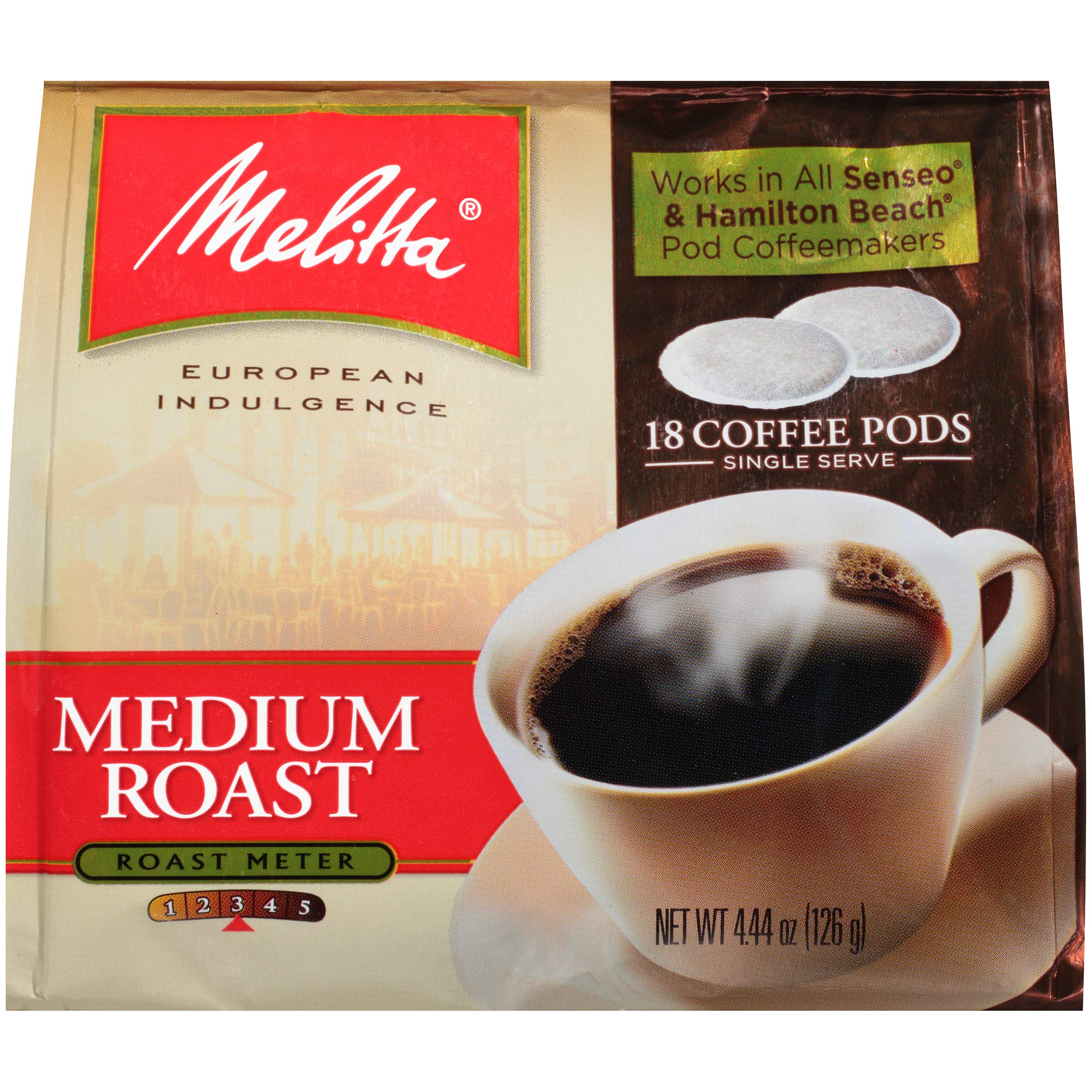 Melitta Medium Roast Coffee Pods for Senseo & Hamilton Beach Pod Brewers, 18 Count (Pack of 6)
