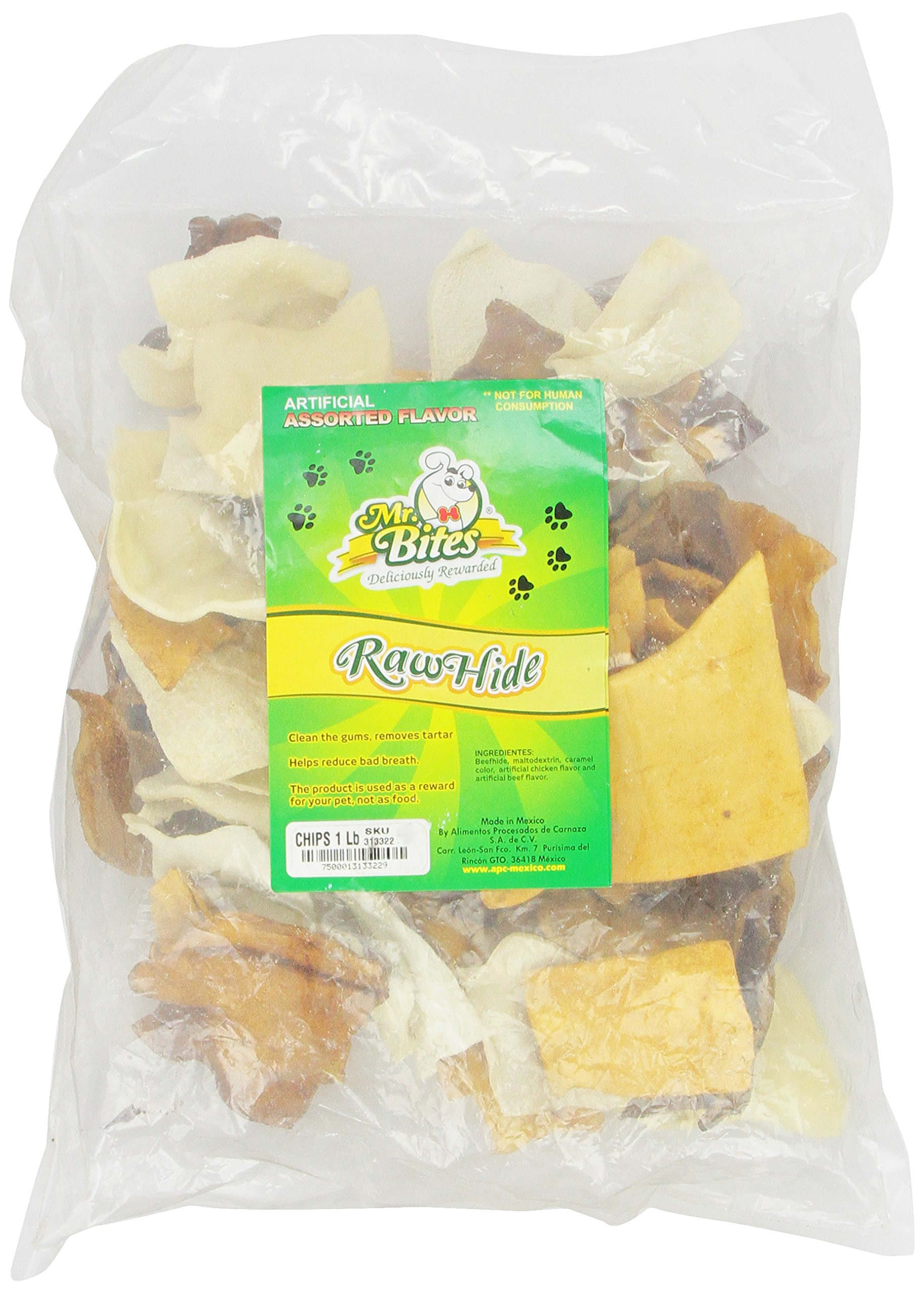 Mr Bites 1-Pound Rawhide Chips for Dogs, Assorted Flavor